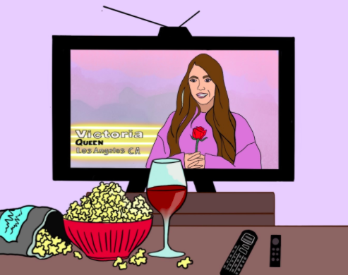 Illustration by Soleil Haskell, OMN CartoonistThis illustration shows one of America's most famous binge-worthy reality shows. Victoria, one of the most popular contestants, appears on screen in this illustration showing The Bachelor on TV.