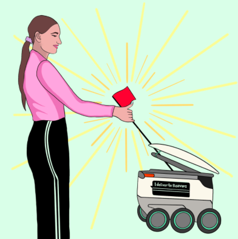 """By Soleil Haskell, OMN Illustrator.The representative """"handshake"""" symbolized above portrays the agreement between OSU students and robots on campus. Etiquette between students and OSU robots is crucial in keeping campus operations running smoothly."""
