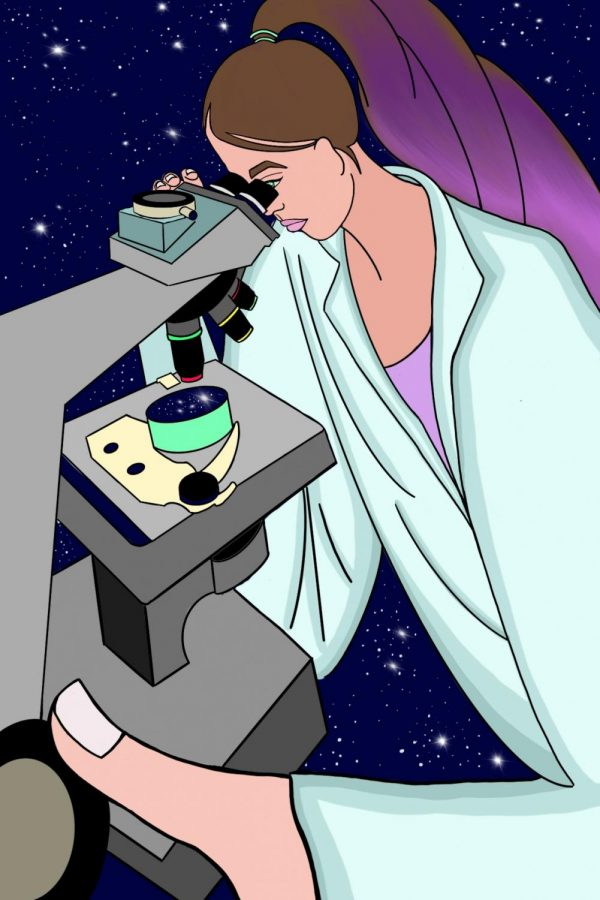 This illustration depicts a female OSU STEM student looking into the universe through a microscope. As more and more women graduate with STEM degrees, the world of scientific discovery continues to broaden.