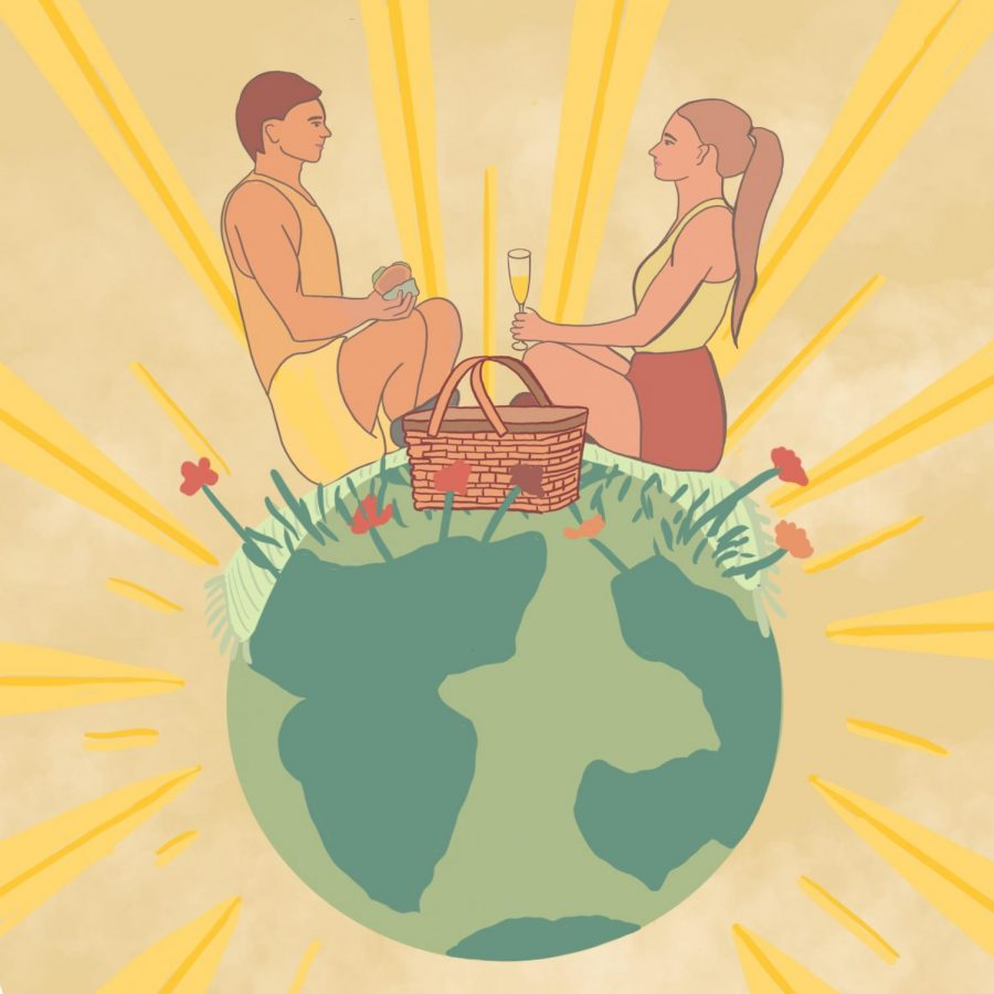 This drawing depicts two people on a spring picnic date. They are shown alone, on top of the world, to emphasize their safe choice of gathering away from others.