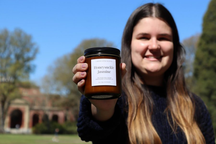 Maegan Reynolds, a sociology student at Oregon, can be seen with her best selling candle Honeysuckle Jasmine. Maegan is the founder of candle companyEarthy Little Scents, this Philomath-based E-commerce brand provides simple sustainable aromas for people all-over the world.