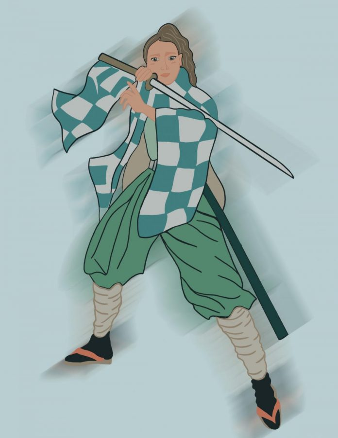 The anime Demon Slayer has an established fanbase. This photo represents a fan dressed in the well-known Demon Slayer costume complete with a pair ofred strappedzōri.