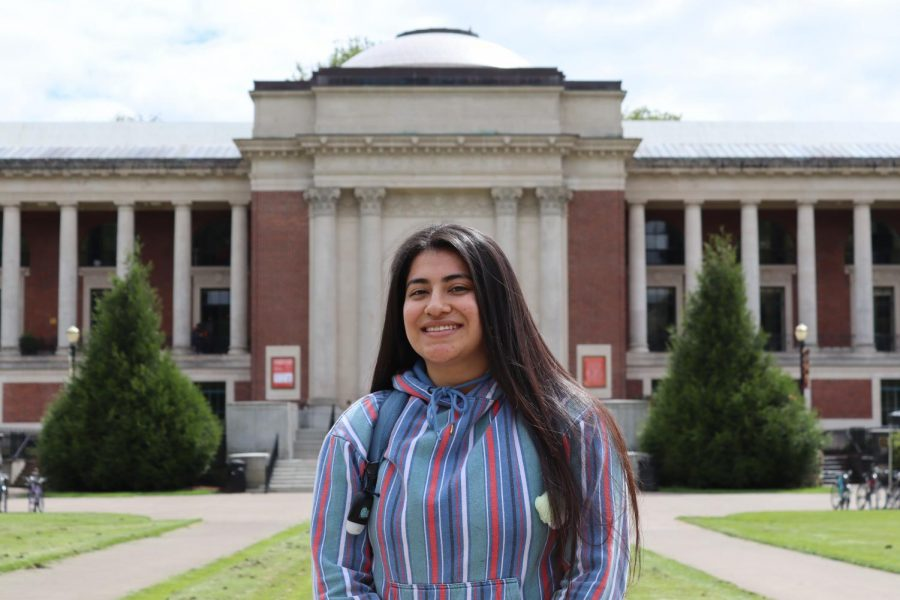 Tiffanie Murcia, a officer of the Society of Hispanic Professional Engineers, can be seen in front of the Memorial Union on campus. In a socially-aware society diversity in leadership positionsis vital throughout allaspects of life.
