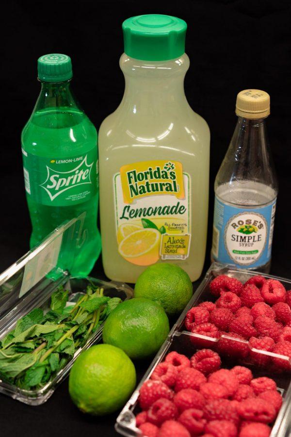 Ingredients to make a raspberry lemonade virgin mojito.