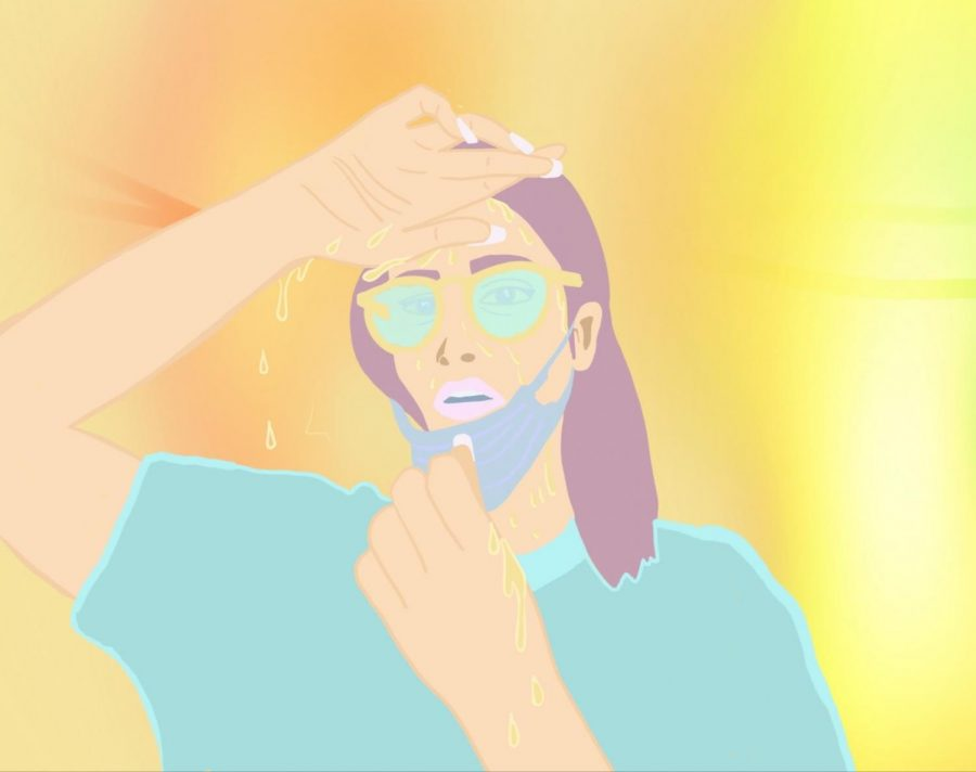 This illustration shows a woman coping with hot temperatures while in a mask. Wearing a mask can have psychological impacts such as causing frustration and discomfort.