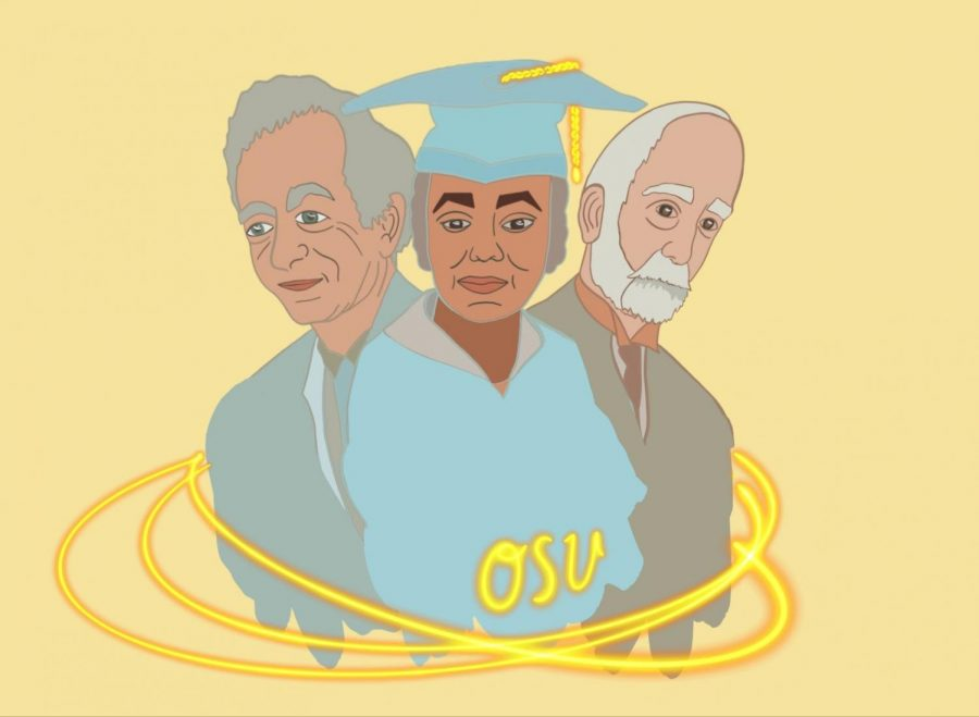 This is an illustration of three of the many historical figures to graduate from Oregon State University. Linus Pauling (left), Carrie Halsall (center), and James Withycombe (right) all left lasting legacies at OSU.