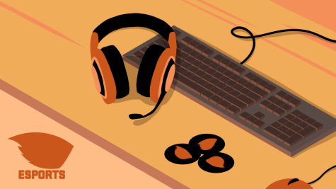 An illustration of a headset, keyboard, mouse and beaver stickers on desk with simplified OSU Esports logo on bottom left corner