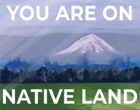 A drawing of Mount Hood with the words You are on Native Land across the photo.